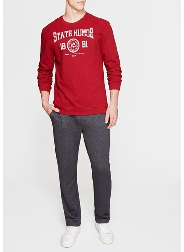Mavi Baskılı Sweatshirt Kırmızı